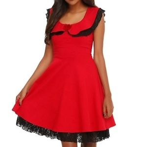 Hot Topic Red Dress with Black Lace -Fit and Flare